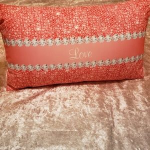 Pink and Silver Throw Pillow